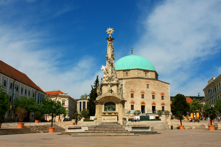 Szechenyi Square in Pecs with mosque, Southern Hungary.