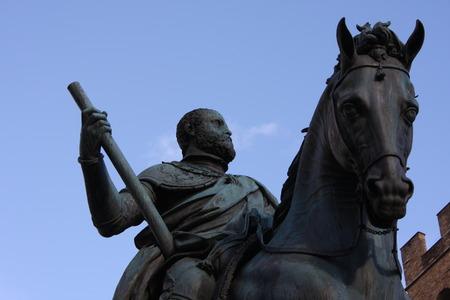 Florence - Piazza della Signoria The equestrian statue of Cosimo I de Medici by Gianbologna