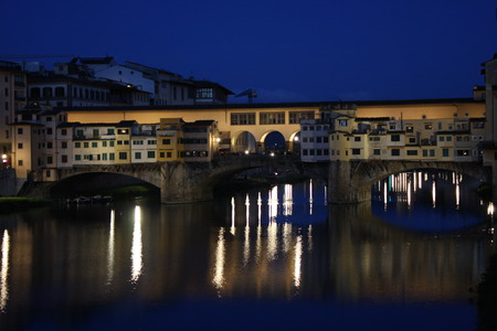 cityscape of Florence at night time - Italy (Ponte Vecchio)