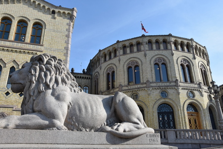 Norwegian parliament Storting Oslo in central Oslo, Norway - Image Redakční