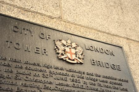 Tower bridge info table in London, Great Britain Redakční