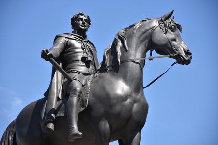 King George IV (1762-1830) statue on Trafalgar Square, London, England. George the Fourth was King of England, Scotland and Ireland Redakční