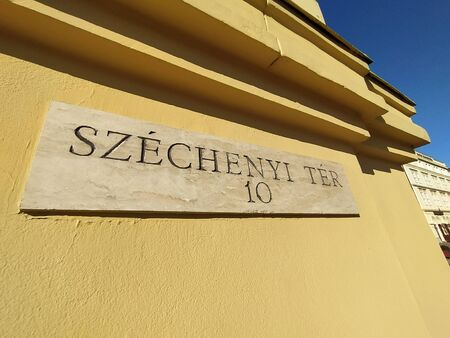 Szeged city monument and street table