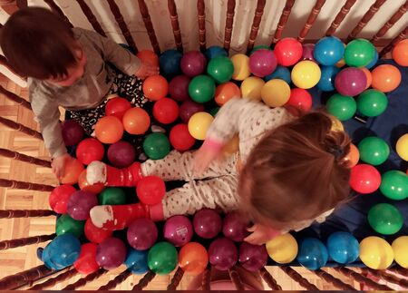 Kids playing with balls