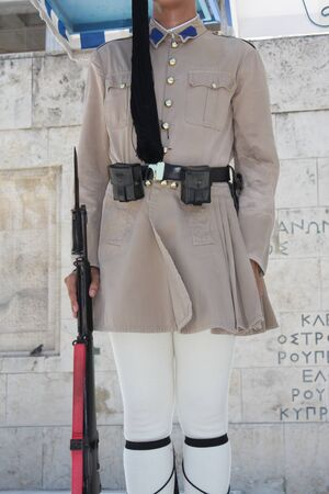 the Evzones or Evzonoi - Greek soldiers. This is the name of several historical elite light infantry and mountain units of the Greek Army Stock Photo