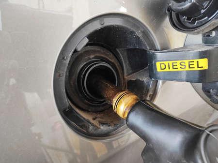 Diesel car tank Stock Photo