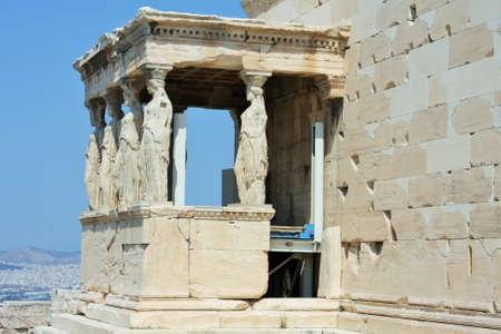 Erechtheion with famous Caryatids, Acropolis hill, Athens historic center, Attica, Greece