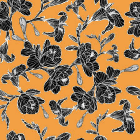 Blooming black freesia flowers on orange background - seamless vector pattern.