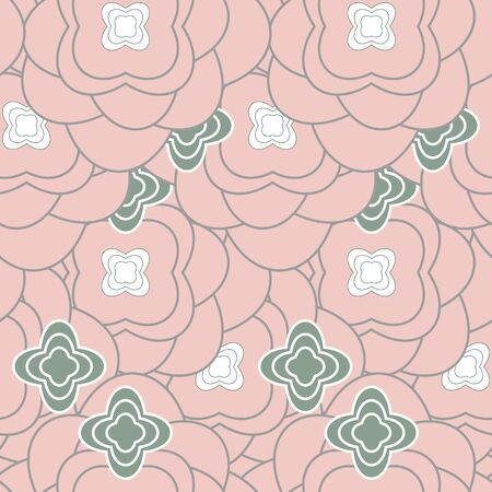 Seamless pattern vector for wallpaper and fabric with abstract flower design. Smaller hidden green and white flowers on the background of bigger old pink flowers. Ilustração
