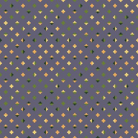 Little colourful four leaf water clovers on purple background. Playful happy pattern in yellow, orange and green.  Seamless stylised geometric texture for fashion materials and interiors. Çizim