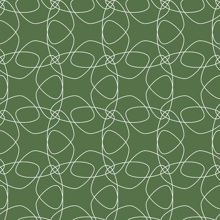 Vector white lace flowers. Elegant seamless ornament pattern with hand drawn line art. Tessellation floral elements on a rich green background. For fashion fabric, packaging, invitation, wallpaper.