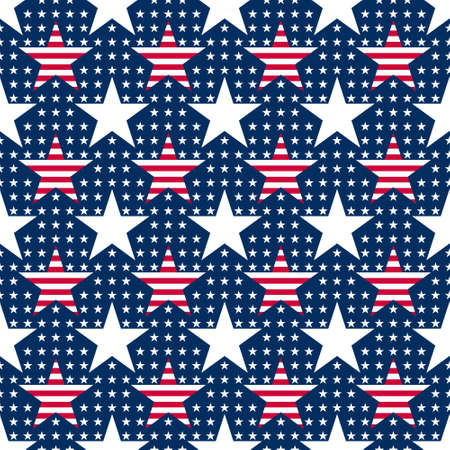 Abstract seamless vector pattern with big and small white five pointed stars and big stars with red stripes. Independence day background. 4th July abstract geometric pattern.