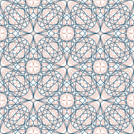 Abstract background with geometric pattern. Seamless regular vector texture of terracotta and blue line shapes on white background. For stationery, wallpaper and interior textiles. Tessellation.