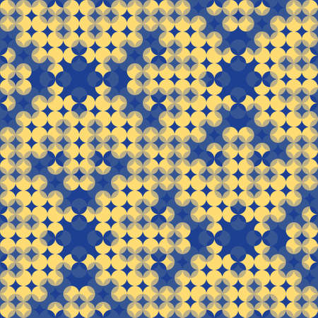 Optical illusion geometric seamless pattern. Regular vector grid texture in blue and yellow great for wallpaper, interior and fashion textiles and packaging.