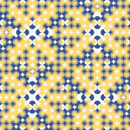Optical illusion geometric seamless pattern. Regular vector grid texture in white, blue and yellow. Great for wallpaper, interior, fashion, textiles and packaging.