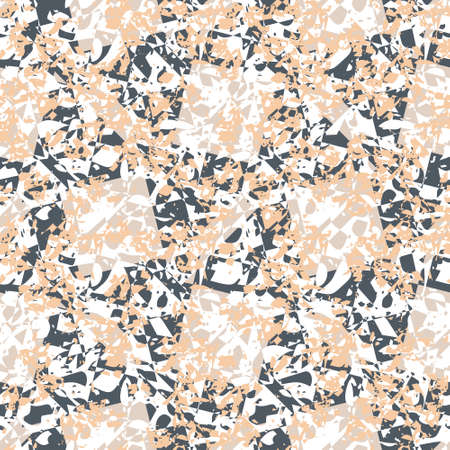 Terrazzo seamless vector pattern. Chunks of other patterns put together in monochrome colors. Hand crafted and unique design of overlapping elements. For wallpapers, stationary and interiors.
