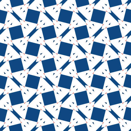 Geometric seamless repeat pattern. Classic blue on white background.  Great for modern wallpaper, backgrounds, interior decorative fabric and fashion fabric. Surface pattern design. Ilustração