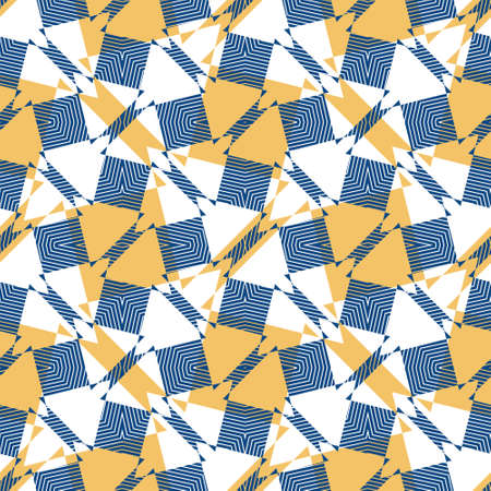 Seamless symmetrical abstract geometric pattern with contrast colours. Vector illustration in mustard yellow and classic blue on white background with white line texture. Tessellating pattern.