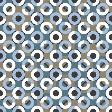 Geometric seamless pattern. Regular background with small and large circles. Vector illustration. Truchet repeat minimal shapes. Ilustrace