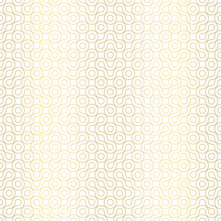 Elegant geometric seamless pattern. Random Truchet vector repeat background. Gold line shapes on white background. For wallpapers, stationary and interiors.
