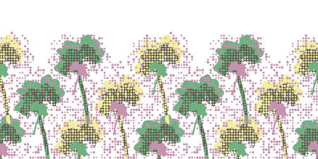 Summer birch tree silhouettes. Abstract decorative seamless vector horizontal border on irregular polka dot background. For nursery wallpapers, interior decoration and stationery. Illustration
