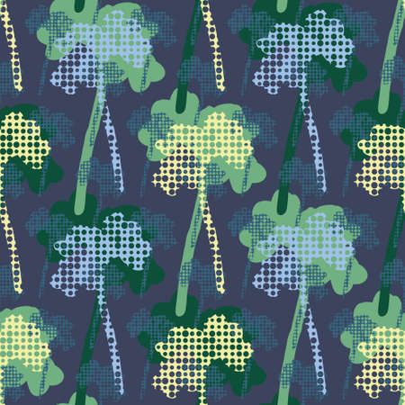 Nocturnal decorative Beech tree forest. Seamless decorative structural vector pattern. Great for wallpapers, interior decoration, curtains, wrapping paper and fashion fabric.