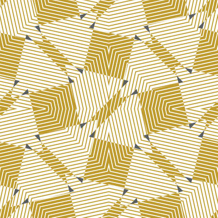 Seamless symmetrical abstract geometric pattern with contrast colours. Vector illustration in mustard yellow on white background with line texture. Monochrome Tessellating pattern. Ilustrace
