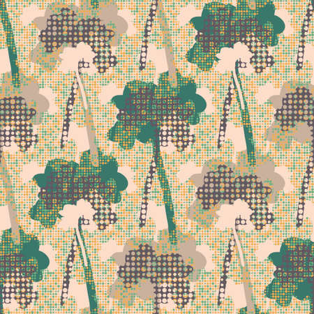 Birch tree silhouettes. Decorative autumn abstract seamless vector pattern on polka dot background. Great for wallpapers, interior decoration, curtains, wrapping paper and fashion fabric. Illustration