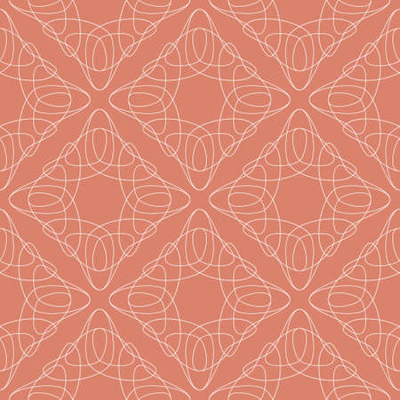 Vector folk tulips seamless pattern background. Elegant ornament pattern with hand drawn flower line art. Rhombus tessellating structure for fashion, interiors, invitations, wallpapers.