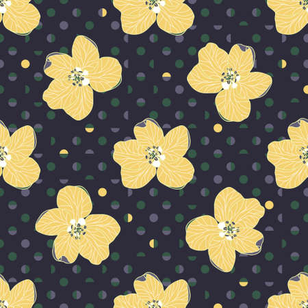 Beautiful hand drawn yellow Apple flowers on elegant Polka Dot geometric background. Modern floral seamless vector pattern suitable for fashion fabrics, wallpapers, curtains and upholstery.