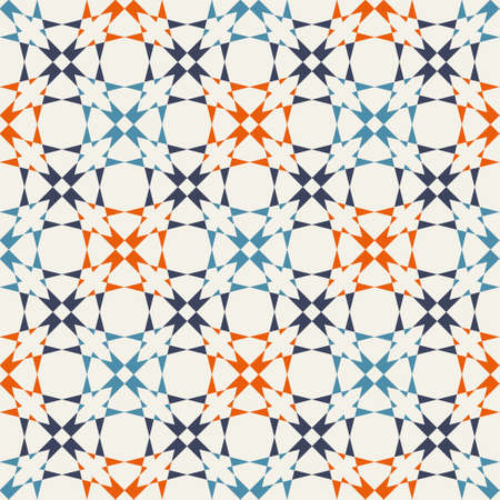 Geometric seamless vector pattern. Blue and orange structure on creamy background. Great for fashion, wallpaper, stationery, wrapping paper and interior textiles.