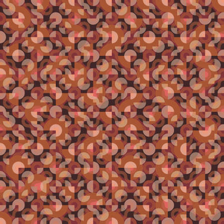 Seamless Truchet repeat design. Geometric pattern in autumn colors for wallpapers, web page backgrounds, surface textures, fashion fabric, carpet design, pillow print and home décor. Ilustrace