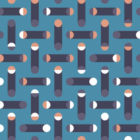Geometric seamless vector pattern. Systematic Polka Dot background with circles, semicircles and broken lines. Truchet repeat minimal shapes. Great for interiors, fashion fabrics and wallpapers.