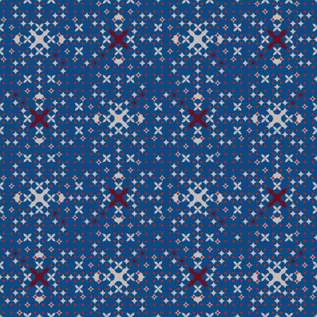 This seamless vector pattern resembles a night starry sky with its combination of colours and little geometric shapes. Great for Christmas wallpaper and interior decoration fabric. Illustration