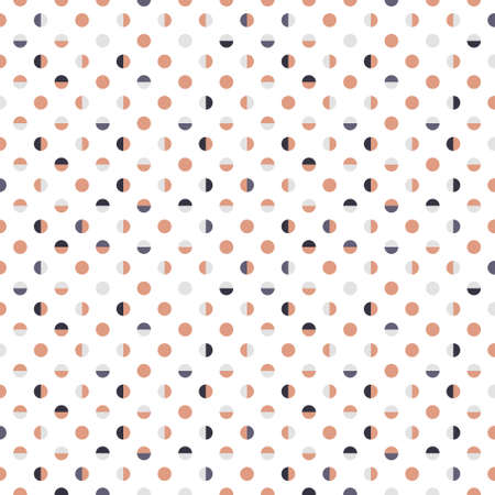 Polka-Dot seamless vector pattern. Elegant regular geometric pattern with tiled small circles and semicircles. Great for fashion, interior decoration, wallpapers, curtains and upholstery.