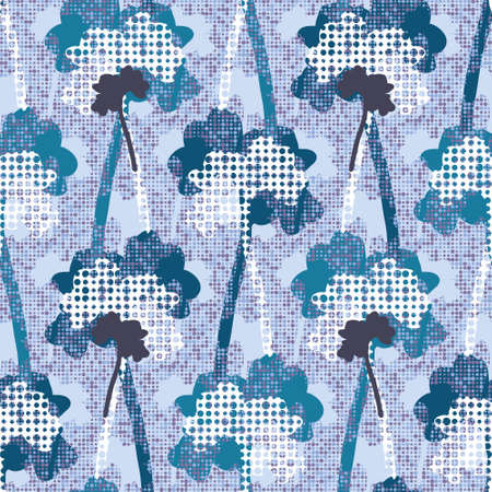 Stylised  winter Beech tree silhouettes with snow structure. Seamless vector pattern on dotted background. Great for wallpapers, interior decoration, curtains, wrapping paper and fashion fabric. Ilustração