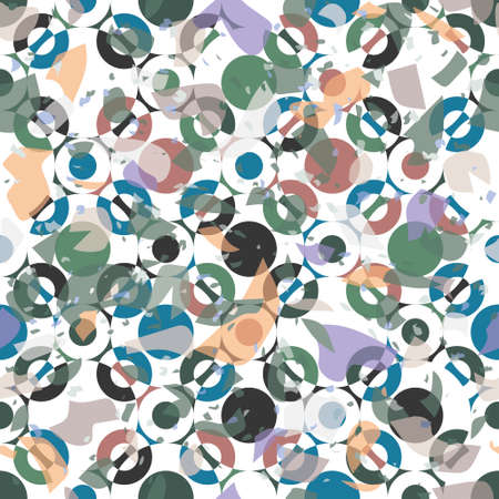 Terrazzo seamless vector pattern. Chunks of geometric and abstract patterns put together. Hand crafted and unique design of overlapping elements. For wallpapers, stationary and interiors.