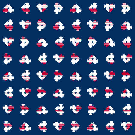 Abstract seamless vector pattern with hearts and five pointed stars. Independence day background. 4th July abstract geometric pattern. USA flag pattern.