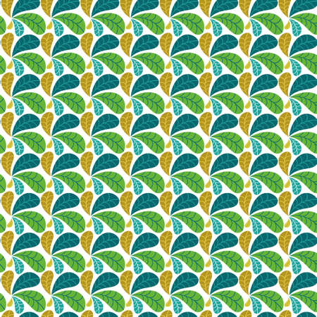 Geometric leaves vector seamless pattern. Decorative regular abstract colourful texture suitable for wallpaper, prints and decorative textiles.