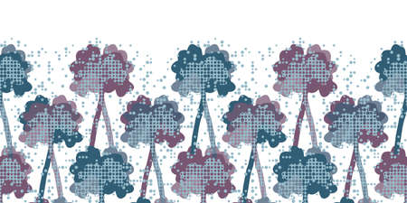 Winter birch tree silhouettes. Decorative seamless vector horizontal border in violet, blue and pink on snowy like white background. Great for wallpapers, interior decoration, curtains and fashion.