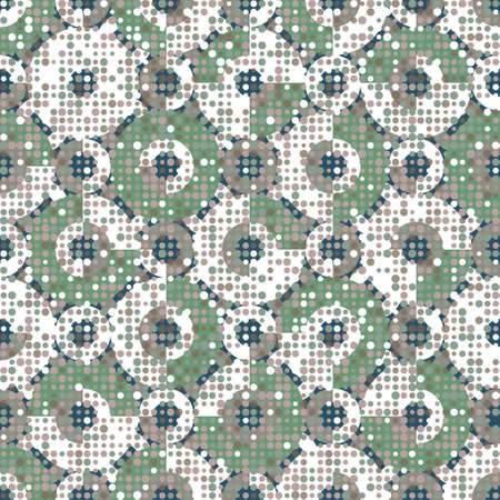 Decorative terrazzo texture. Seamless vector pattern with colourful geometric fragments scattered on circles background. Modern vector illustration for wrapping paper, wallpaper and flooring.