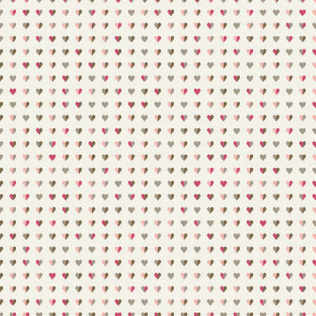 Cute Seamless vector pattern with little colourful hearts on beige background. Perfect for printing on fabric, wrapping and gift paper, wallpaper, Valentine and wedding backgrounds.