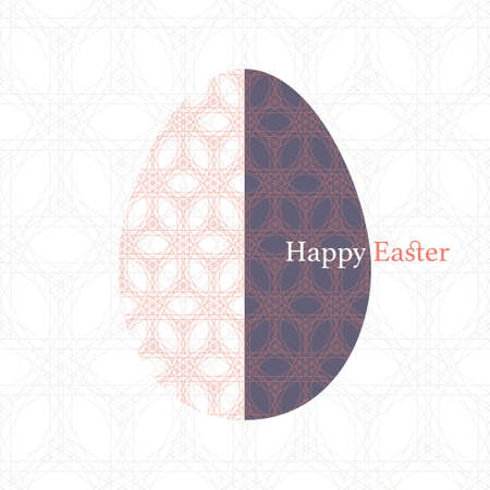 Vector orange and purple geometric lace Easter Egg on seamless lace background. Elegant flat decorative greeting card design with Happy Easter text can be also used for  wrapping paper.