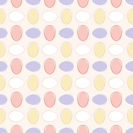 Simple seamless Vector geometric pattern with small colourful Easter Eggs on pastel orange background. Playful decorative design for greeting cards, posters and wrapping paper. Illustration