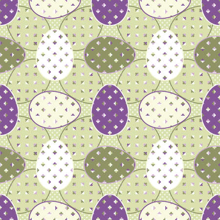 Vintage Happy Easter seasonal background with green, purple and white eggs decorated with four-leaf clovers. Abstract seamless Vector geometric design for wrapping paper and posters. Illustration
