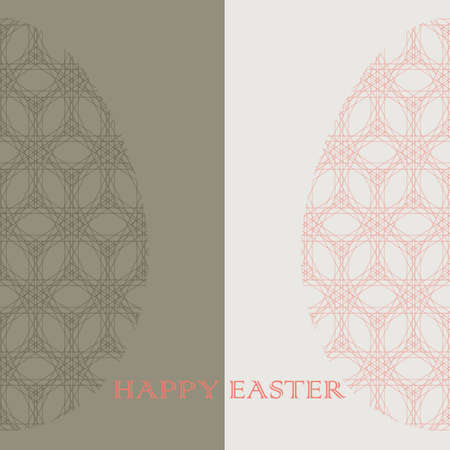 Vector orange, green and white geometric lace half Easter Eggs. Elegant flat decorative greeting card design with Happy Easter text can be also used for  wrapping paper. Illustration