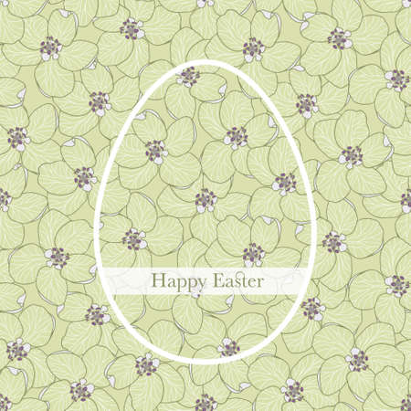 Happy Easter greeting card or poster with an egg illustration on seamless apple flower background. Monochrome ornamental greeting card with ribbon with text can be also used for wrapping paper.
