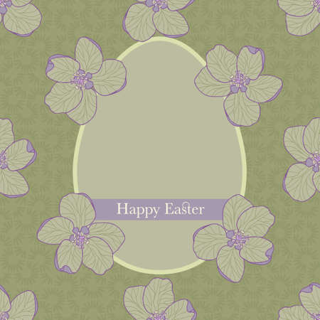 Vintage Happy Easter greeting card with an egg illustration on seamless green background decorated with flower petals. Ornamental greeting card design with flowers and ribbon with text.