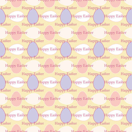 Simple seamless Vector geometric pattern with small colourful Easter Eggs on yellow background with happy Easter greetings. Playful decorative design for greeting cards, posters and wrapping paper.
