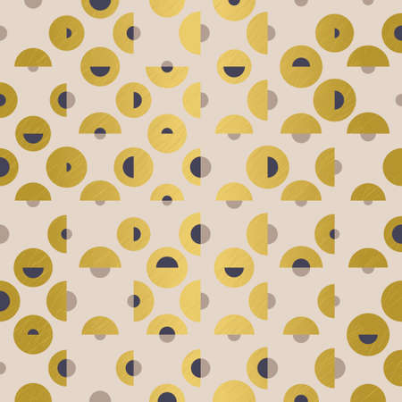 Elegant seamless geometric pattern with gold, purple and beige layered circles and semicircles